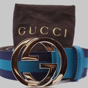 Preowned Gucci GG Logo Gold Buckle Size 100/40